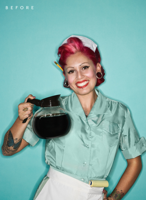 """The Waitress"" Photo Retouch - Before"